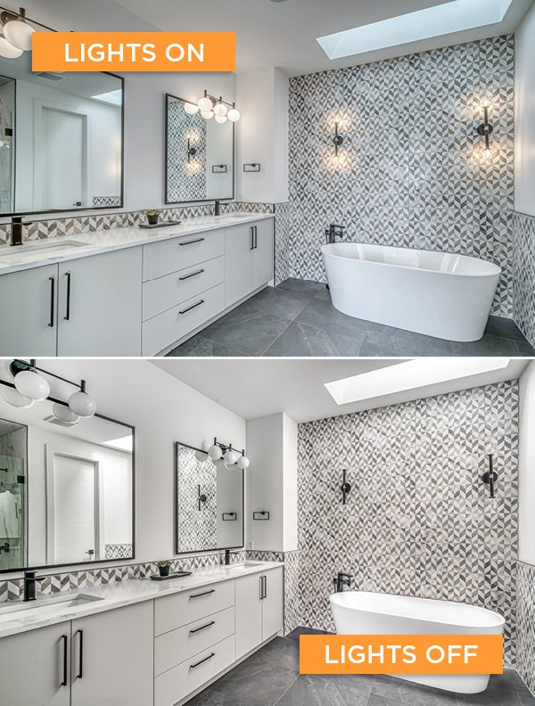 Lights on vs. lights off real estate photography Sona Visual