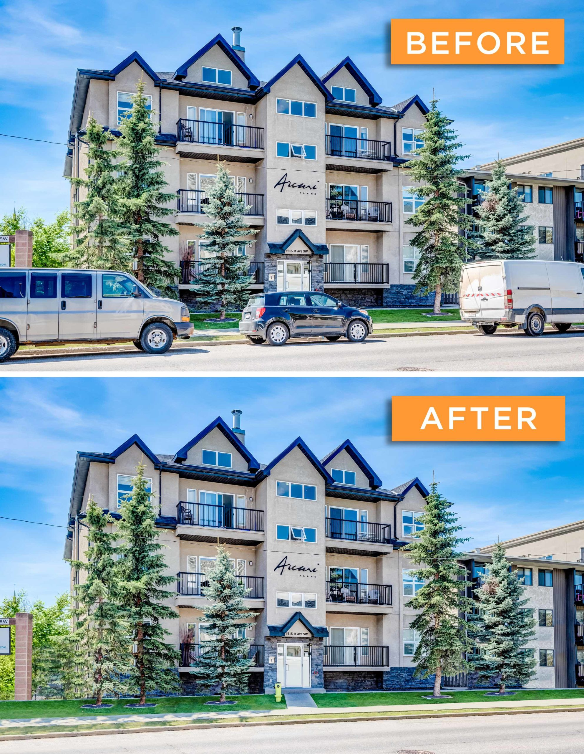 Advanced editing before and after Sona Visual real estate marketing solutions
